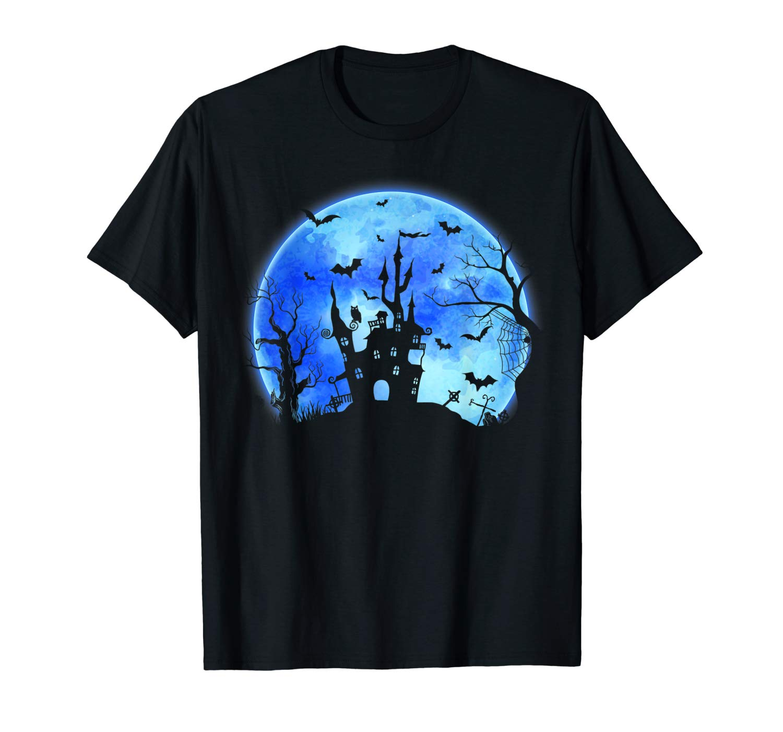 House In Night Halloween Shirt Bats Ghost Moon T Shirt