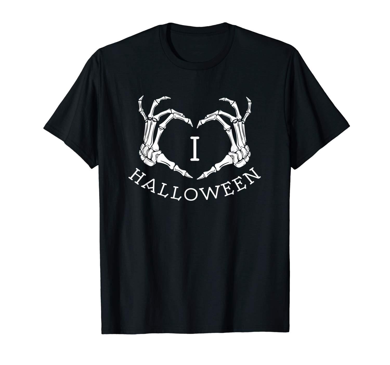 I Love Halloween Skeleton Heart T Shirt October Fall Shirt