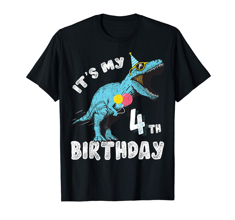 It S My 4th Birthday Dinosaur Party Shirt For Boy Age 4