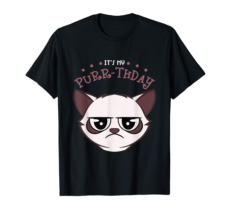 It S My Purr Thday Funny Pun Cat Grumpy Birthday Shirt
