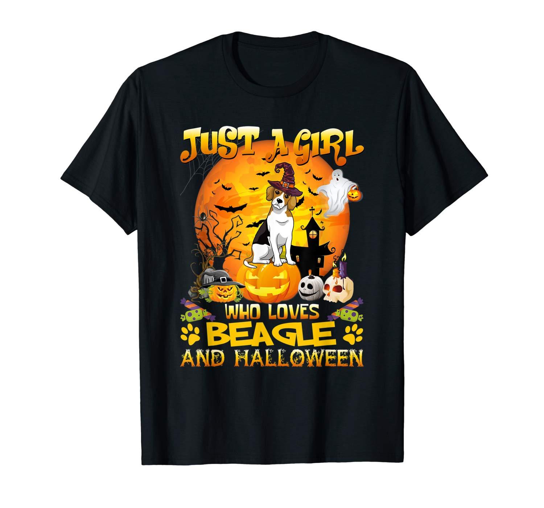 Just A Girl Love Beagle Dog Halloween T Shirt Gift