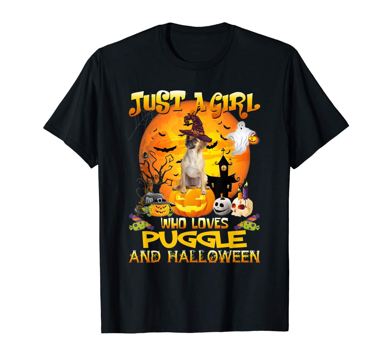 Just A Girl Love Puggle Dog Halloween T Shirt Gift