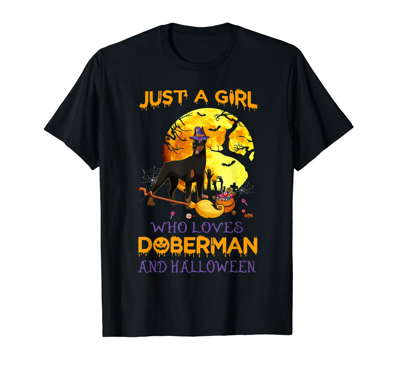 Just A Girl Who Loves Doberman And Halloween Love Dogs T Shirt