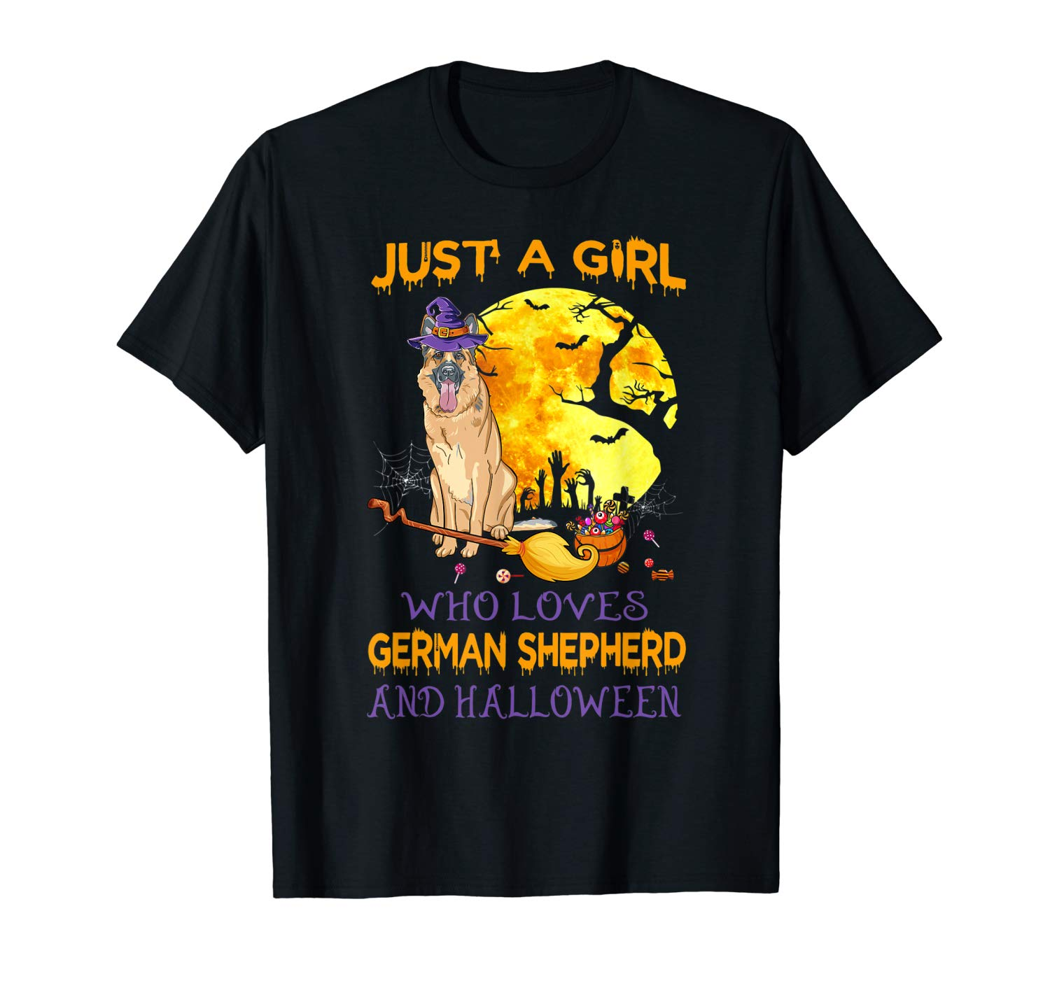 Just A Girl Who Loves German Sheperd And Halloween Gifts T Shirt