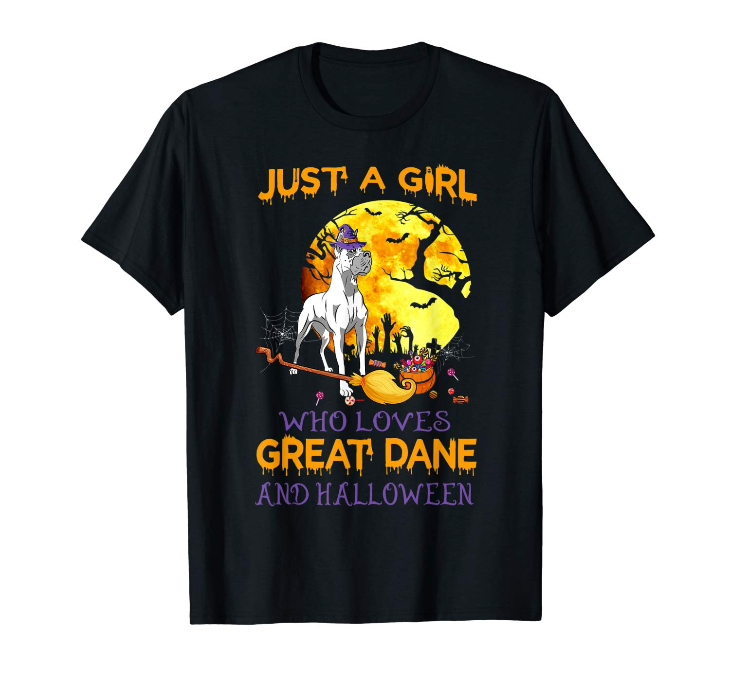 Just A Girl Who Loves Great Dane And Halloween Love Dogs T Shirt