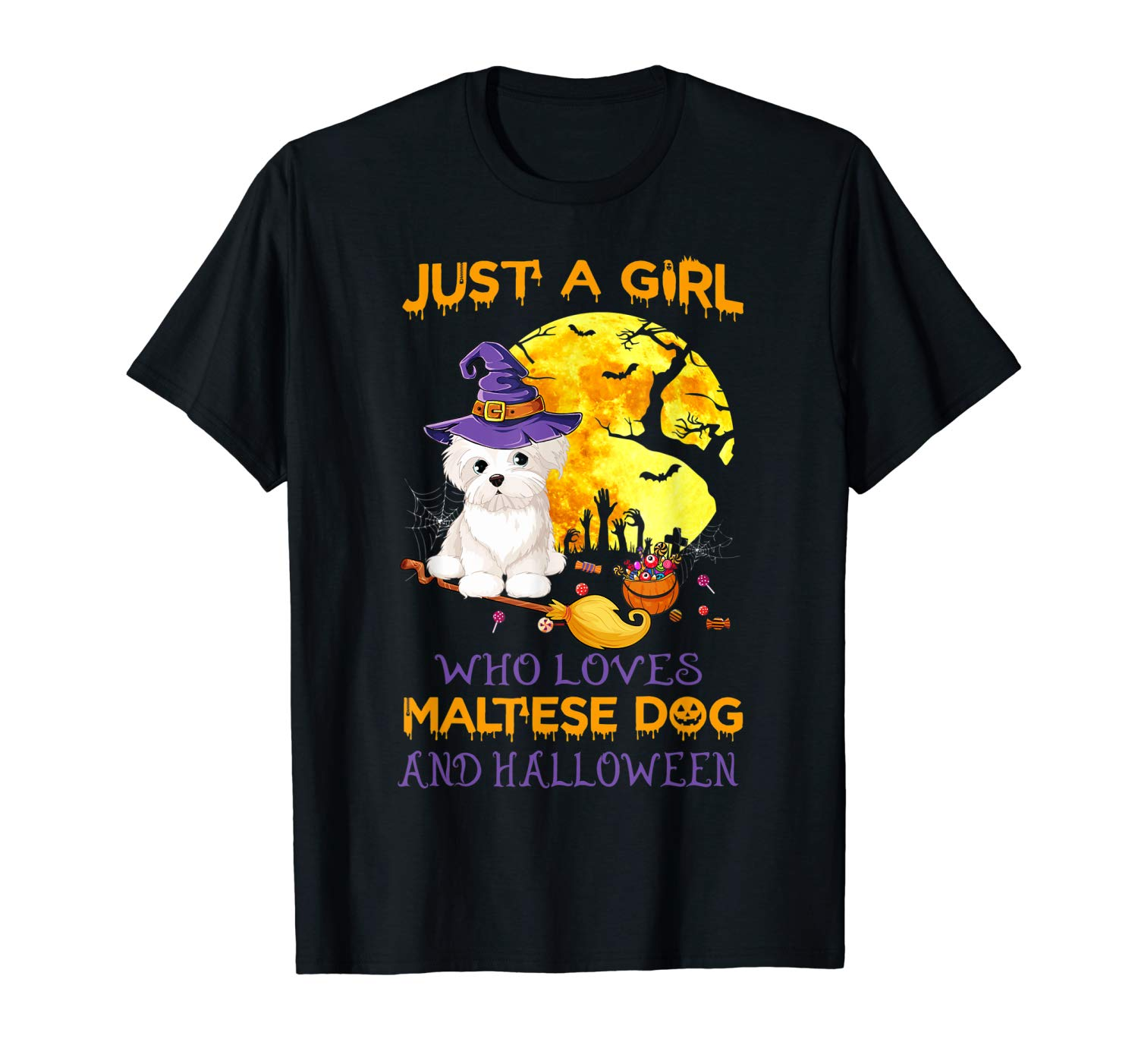 Just A Girl Who Loves Maltese And Halloween Love Dogs T Shirt
