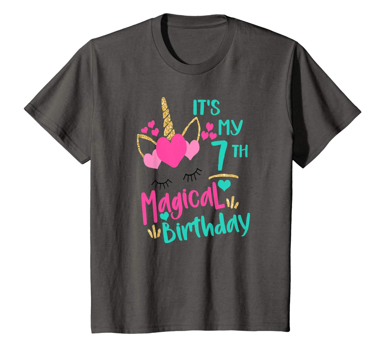 It S My 7th Magical Birthday Girls Unicorn Birthday Shirt