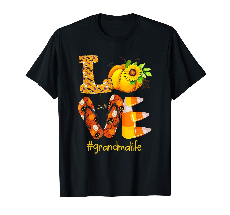 Love Grandma Life Halloween Sunflower Pumpkin T Shirt