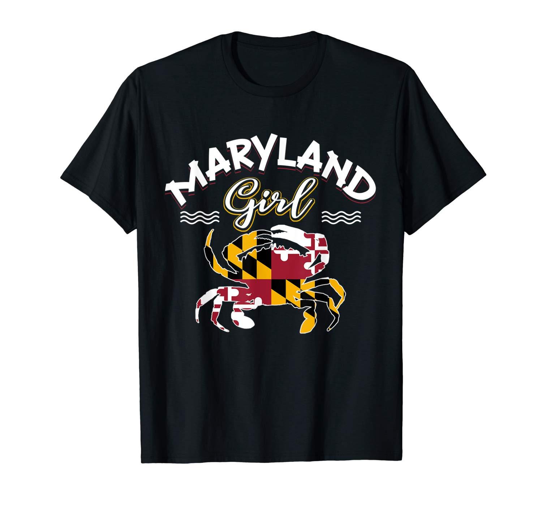 Maryland Girl Flag Crab T Shirts