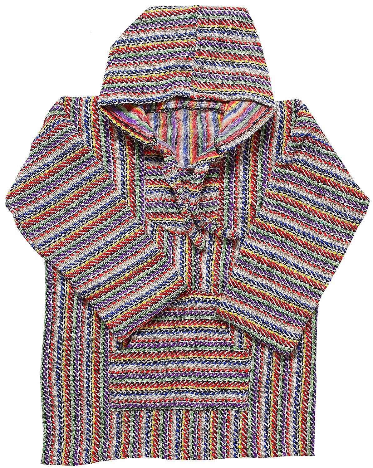 Mexican Style Baja Pullover Poncho For Gray Rainbow Cu187aa38wc Shirts