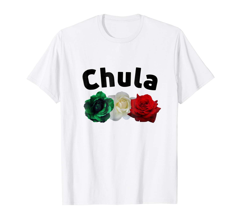 Mexicana Tees Chula Y Rosas Mexican Flag Tshirt