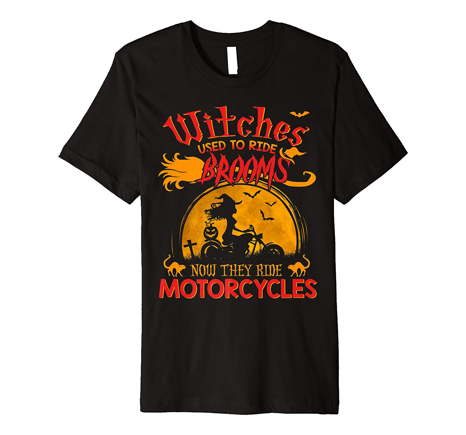 Motorcycles Witches Halloween T Shirt Premium T Shirt