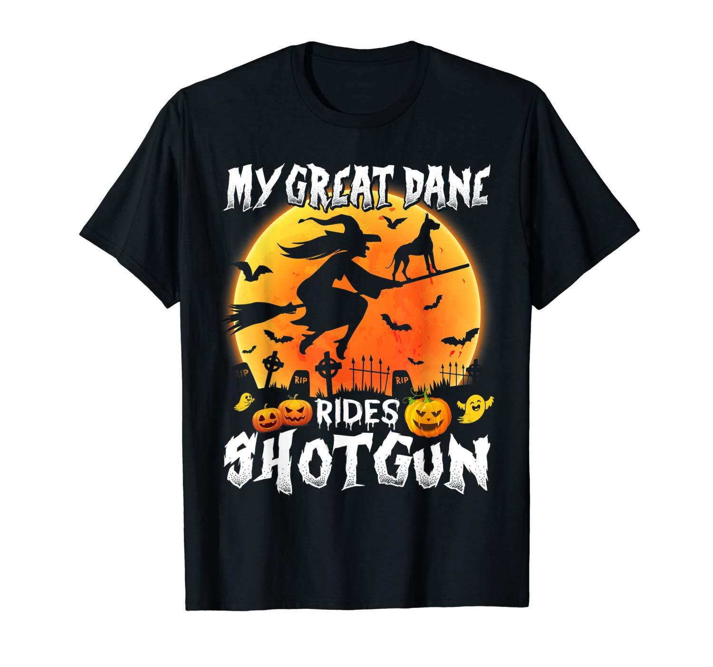 My Great Dane Rides Shotgun Halloween T Shirt Halloween T Shirt