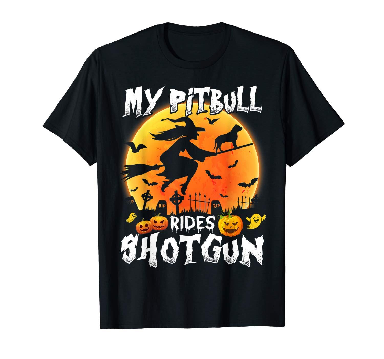 My Pitbull Rides Shotgun Halloween T Shirt Halloween T Shirt