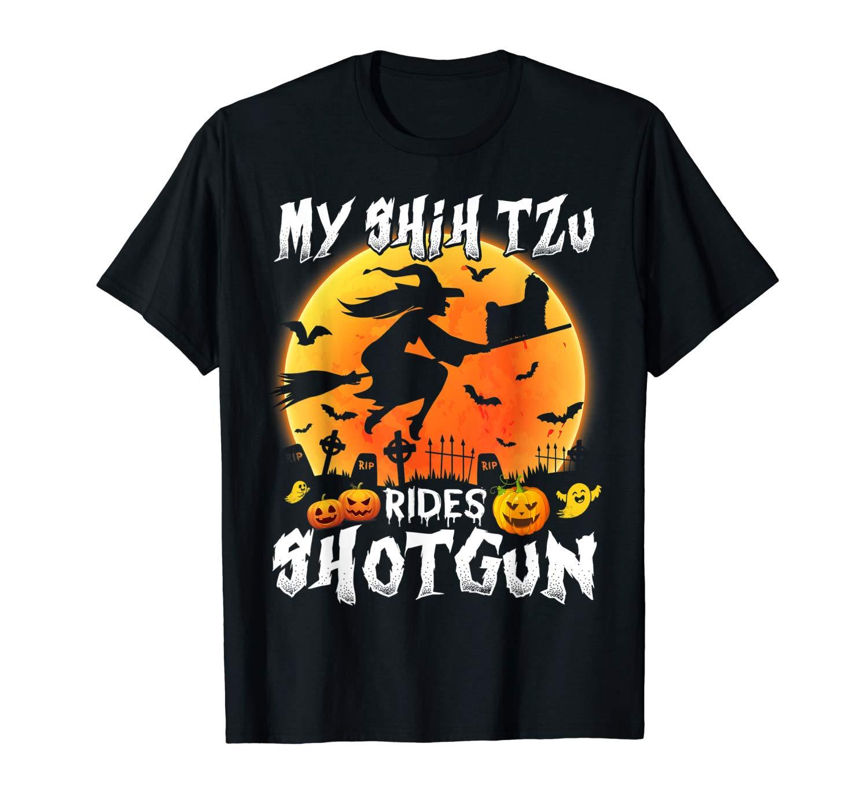My Shih Tzu Rides Shotgun Halloween T Shirt Halloween Gift T Shirt