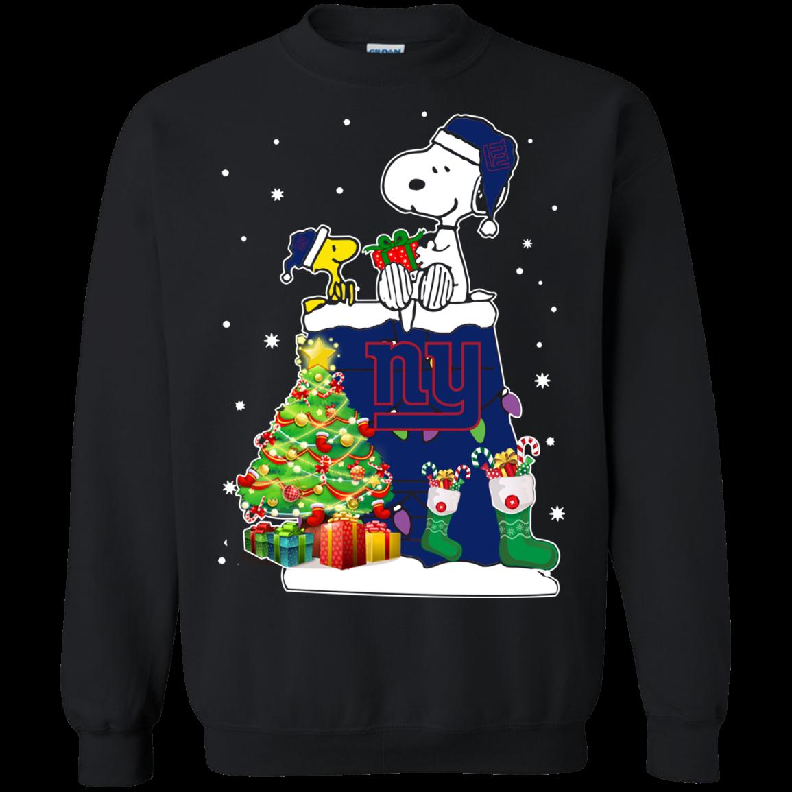 New York Giants Snoopy Woodstock Christmas Shirt