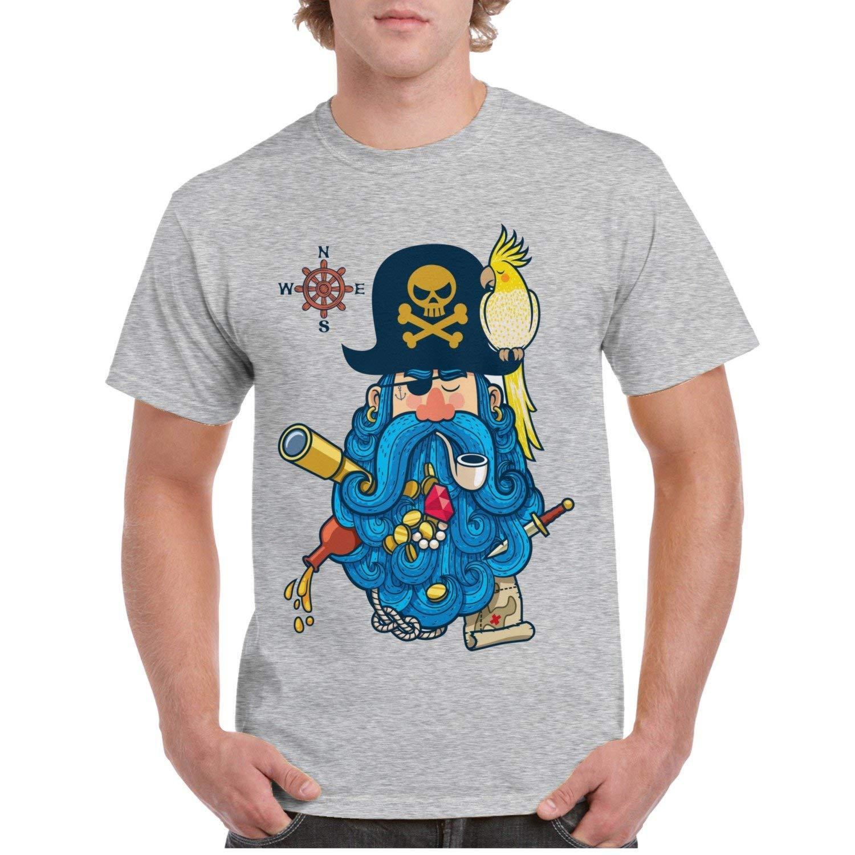 Pirate Portrait Parrot Grey T Shirt