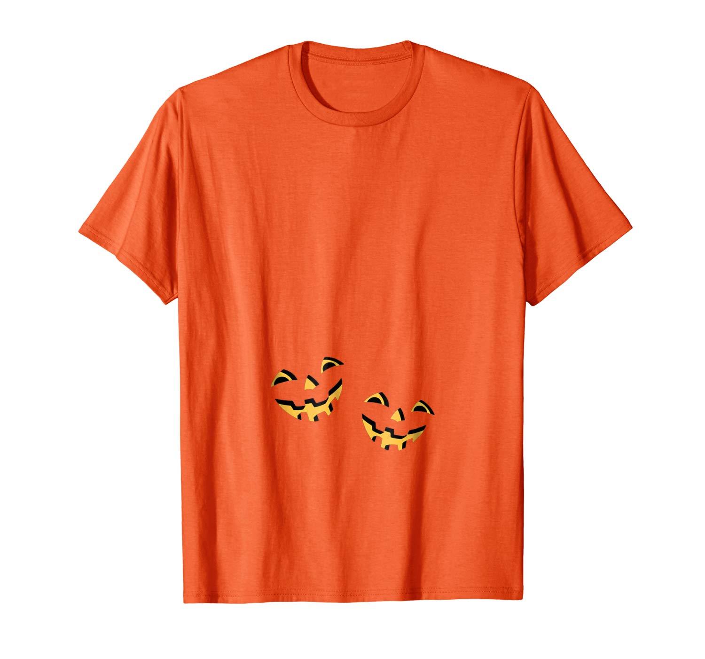 Pregnant Pumpkin Halloween T For Maternity Twin Twins Versio Shirts