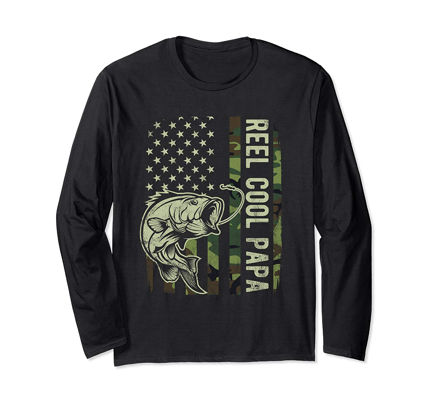 Reel Cool Papa Camouflage American Flag Fathers Day Gift T Shirt