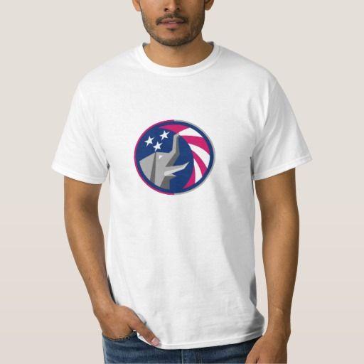 Republican Elephant Mascot Usa Flag Circle Retro Illustration Of An American Repu Shirts
