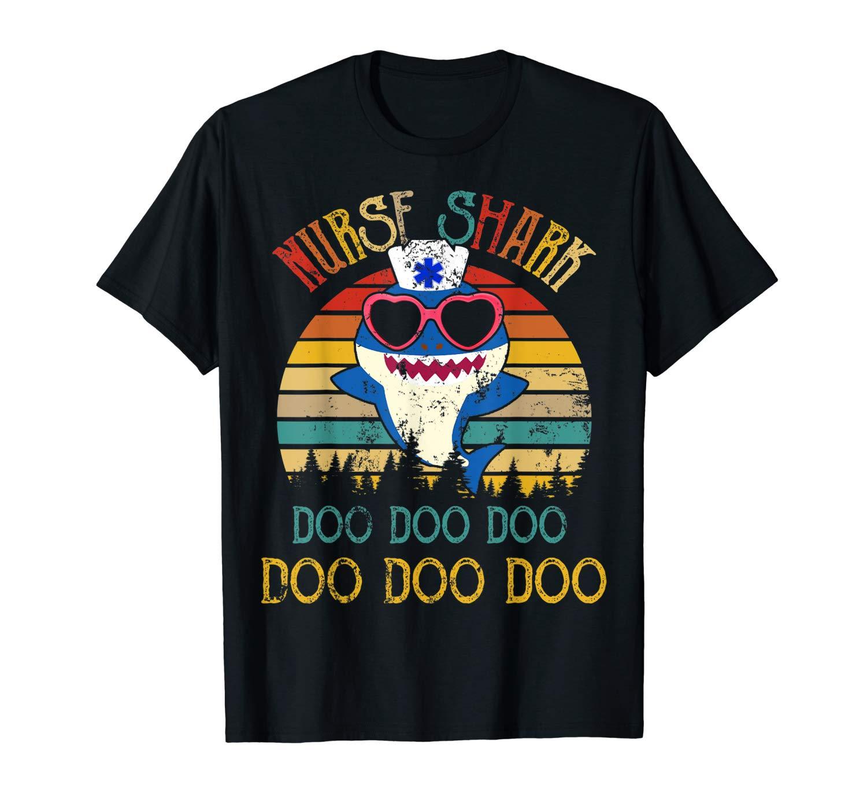 Retro Vintage Nurse Shark Doo Doo Doo Nurse Week Gifts T Shirt