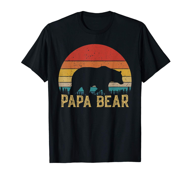 Retro Vintage Sunset Papa Bear Hiking Camping T Shirt Gift