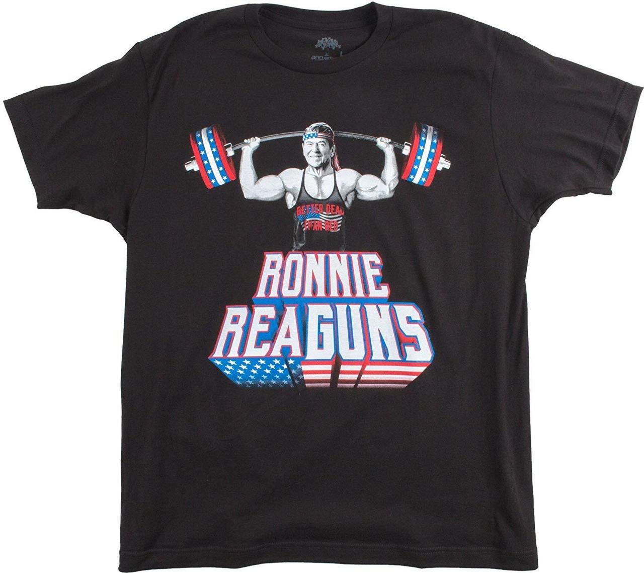 Ronnie Reaguns Funny Ronald Reagan Weight Lifting Work Out Merica Usa T Shirt