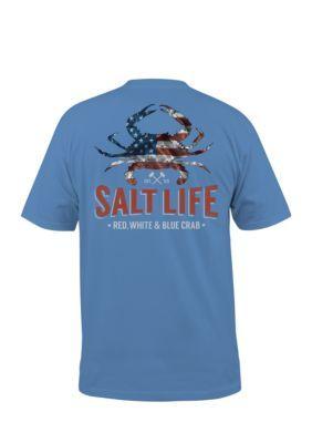 Salt Life S American Crab Short Sleeve Chambray Blue Shirts