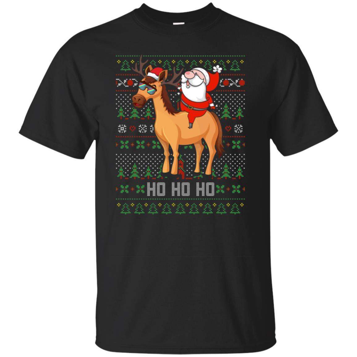 Santa Riding Horse Hohoho Xmas Gift Tshirt