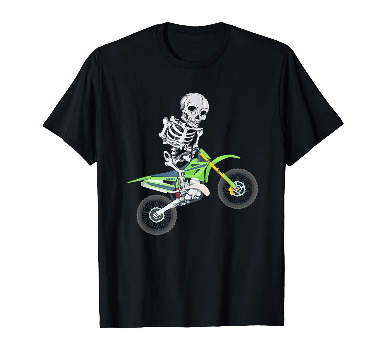 Skeleton Dirt Bike Shirt Motocross Biker Halloween