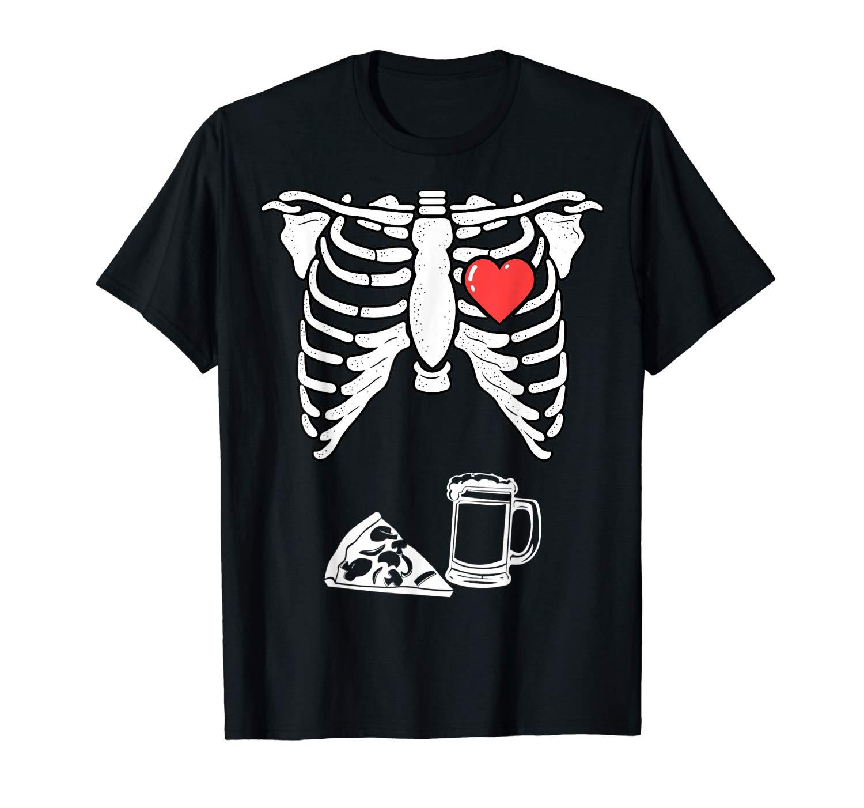 Skeleton Pregnancy Pizza Beer Shirt Xray Halloween Soon Dad