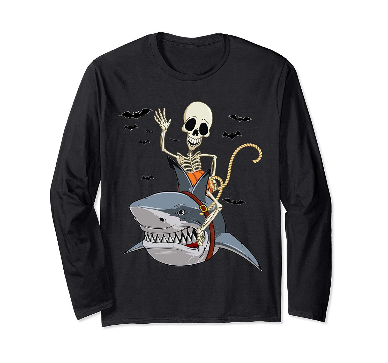 Skeleton Riding Shark Funny Halloween Girls T Shirt