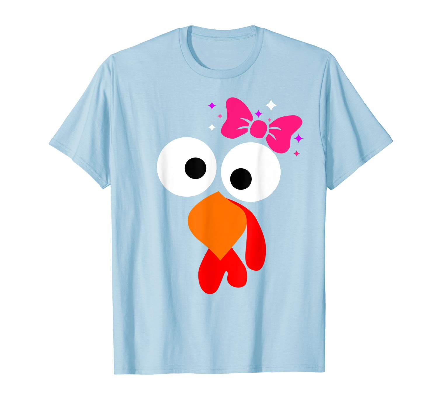 Thanksgiving Turkey Face Pink Bow Tshirt For Girls Halloween