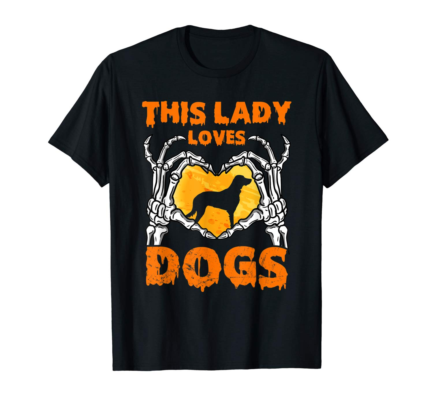 This Lady Loves Dogs Halloween Skeleton Hands Heart T Shirt