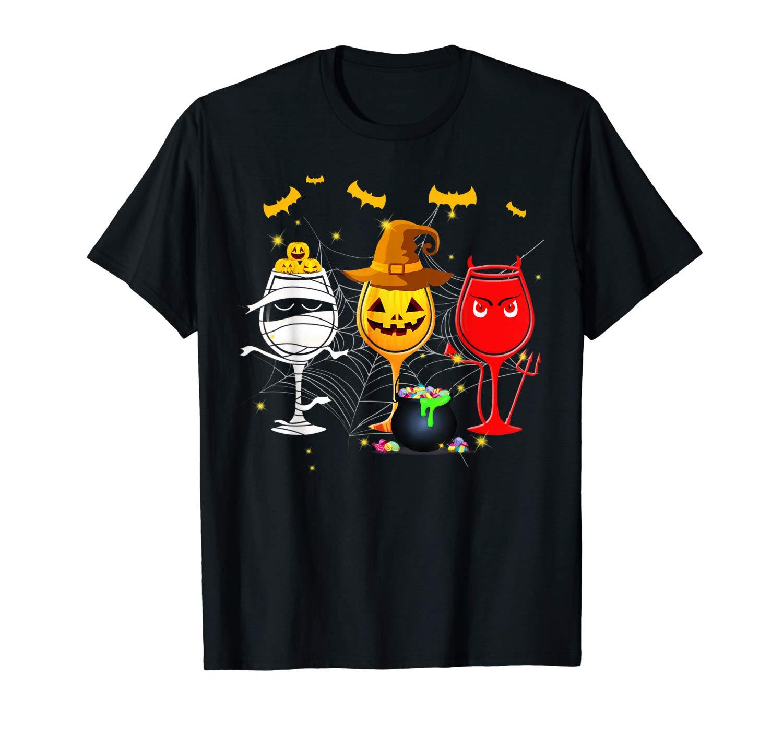 Three Glasses Wine Pumpkin Halloween Tshirt Halloween