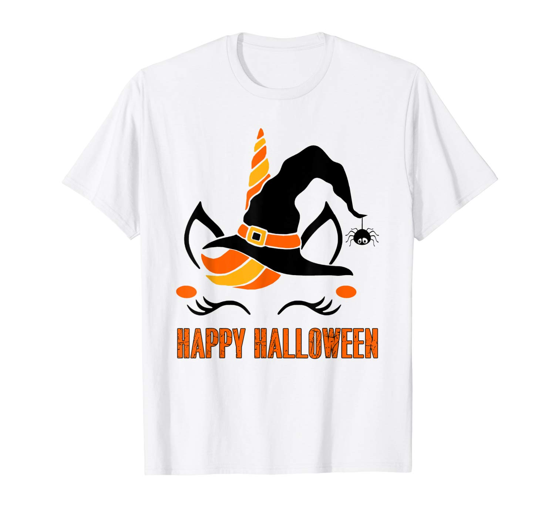 Unicorn Face Halloween Tshirt For Girls Happy Halloween Tee
