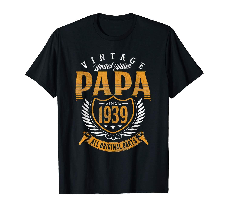 Vintage 80th Birthday Papa Gift Since 1939 Dad T Shirt