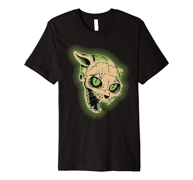 Vintage Halloween Scary Cat Skull Horror Gift Premium T Shirt