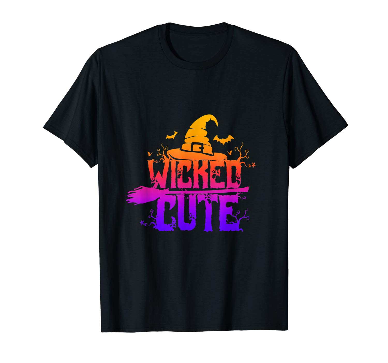 Wicked Cute Halloween Shirt Witch Broom Bat