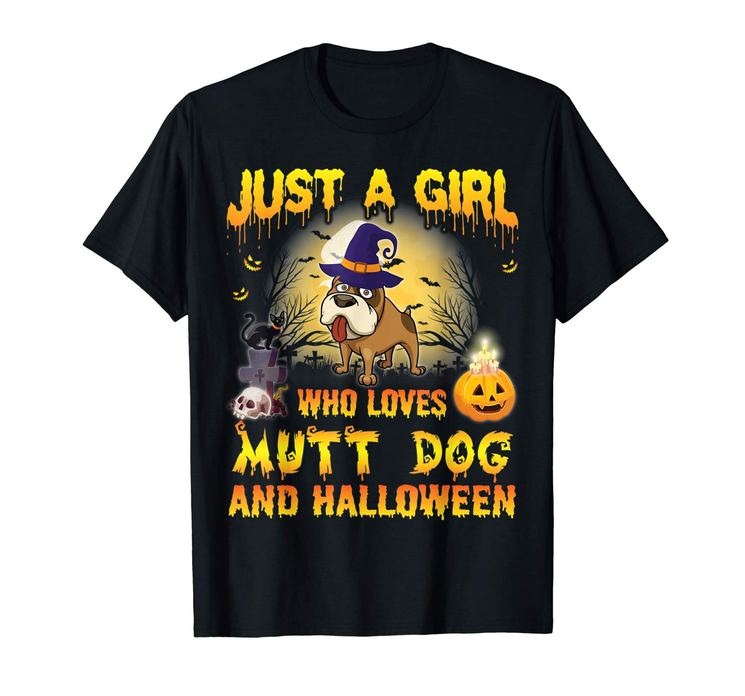 Witch Dog Just A Girl Who Loves Mutt And Halloween Shirt