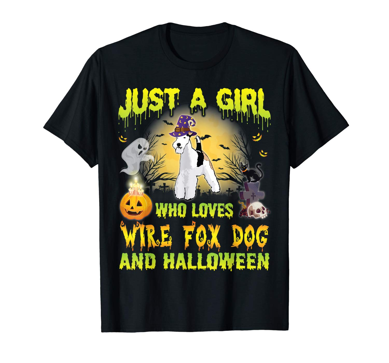 Witch Dog Just A Girl Who Loves Wire Fox And Halloween Shirt