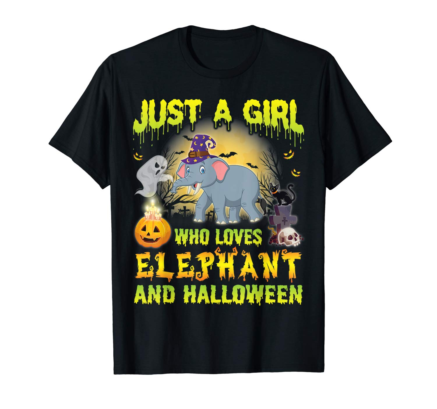 Witch Just A Girl Who Loves Elephant And Halloween Shirt