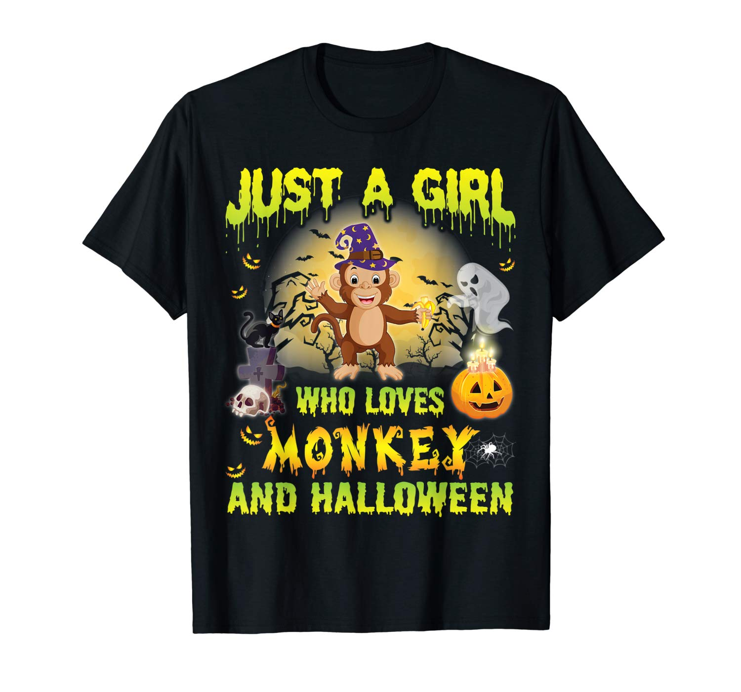 Witch Just A Girl Who Loves Monkey And Halloween Shirt