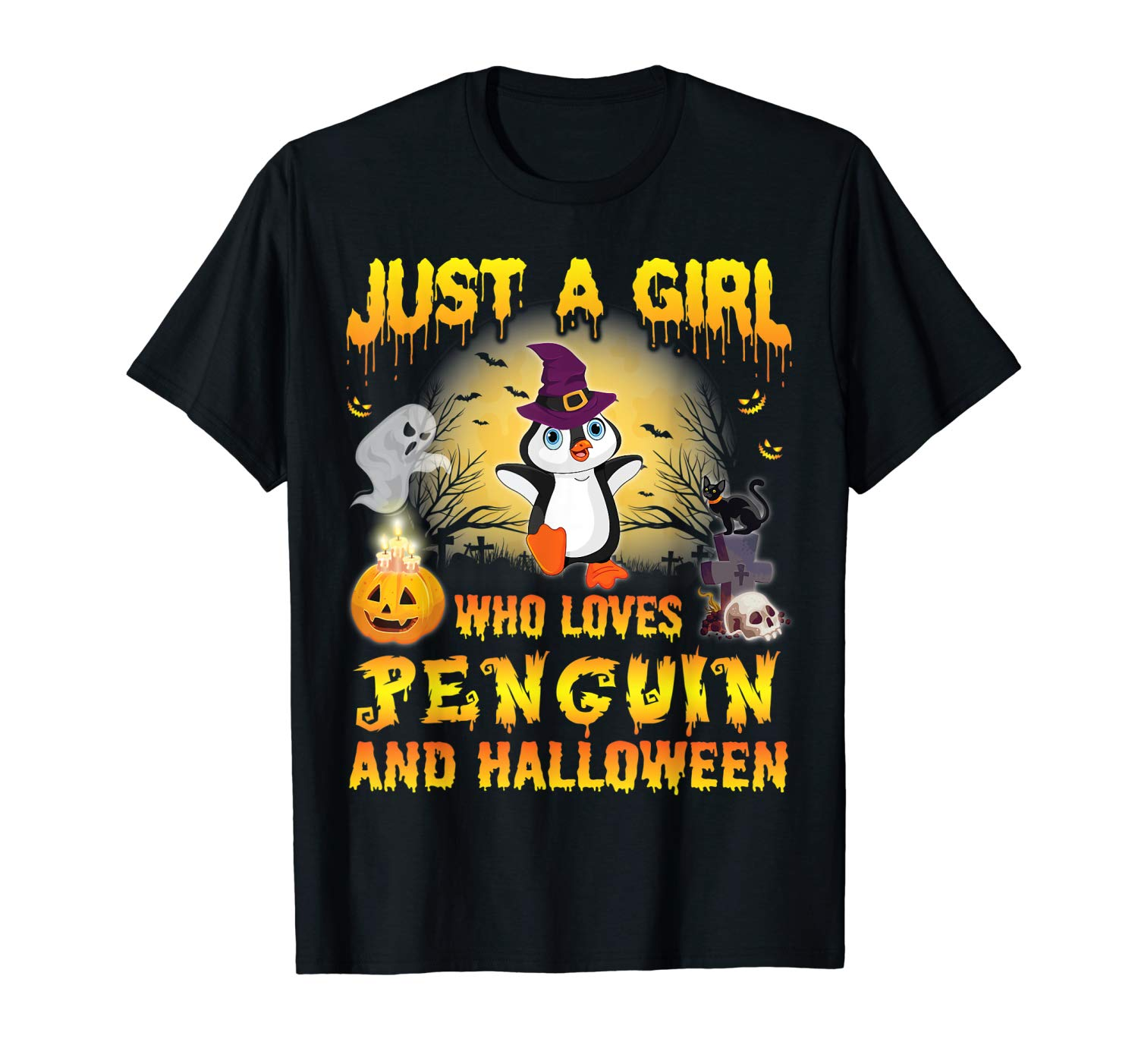 Witch Just A Girl Who Loves Penguin And Halloween Shirt