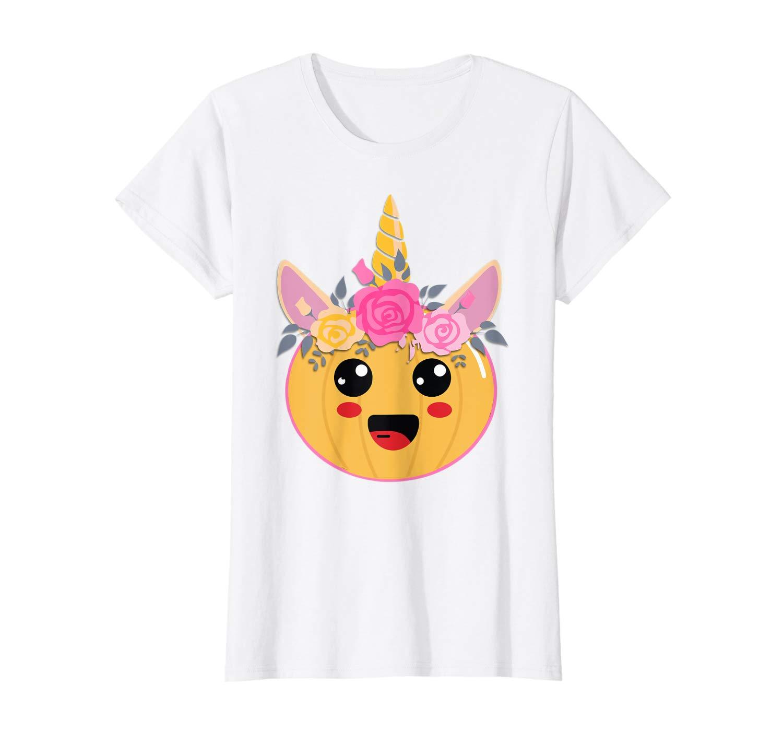 Cute Unicorn Pumpkin Flower Halloween T Shirt For Girl