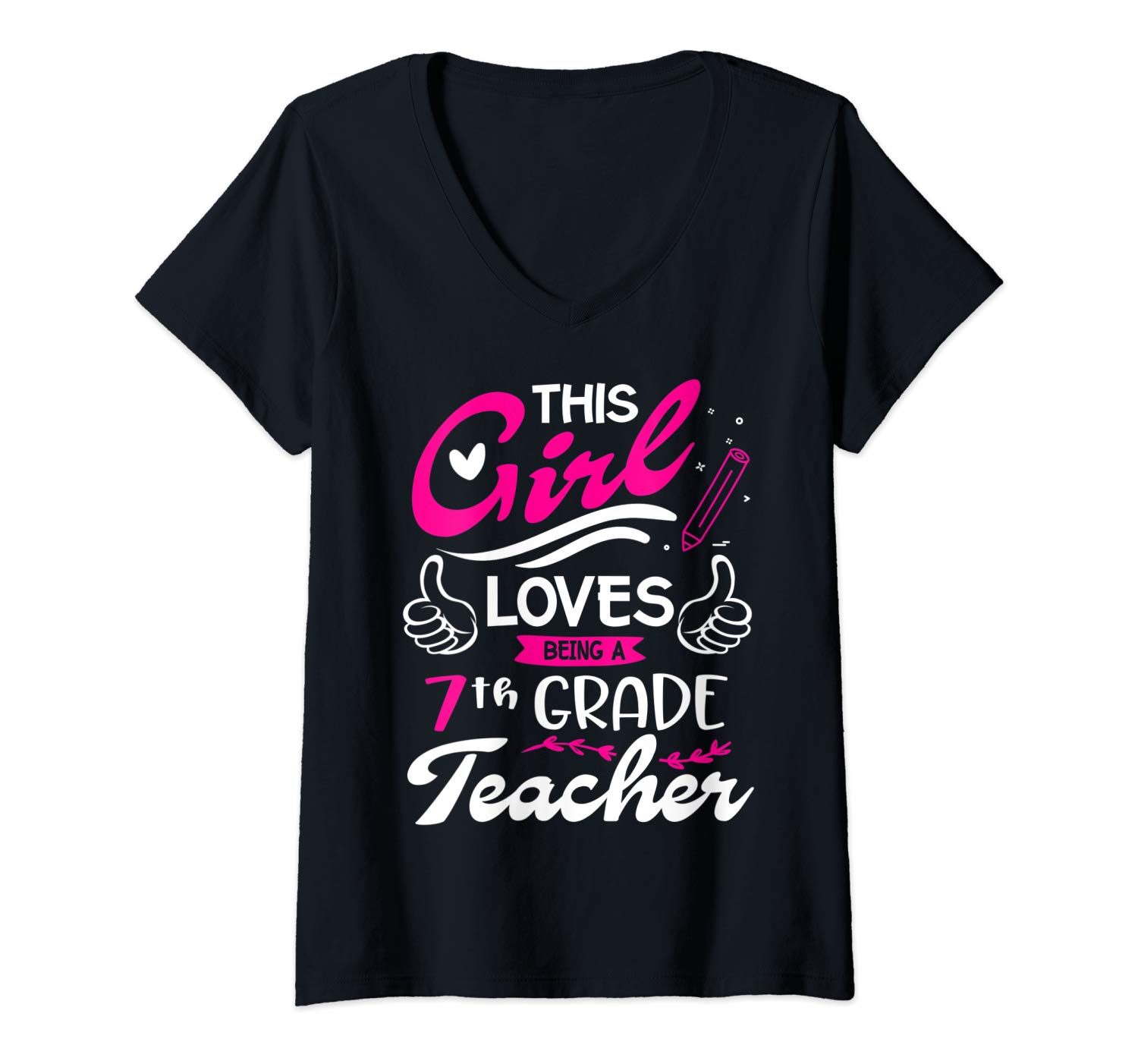 This Girl Loves Being Seventh 7th Grade Tea Funny School T Shirt