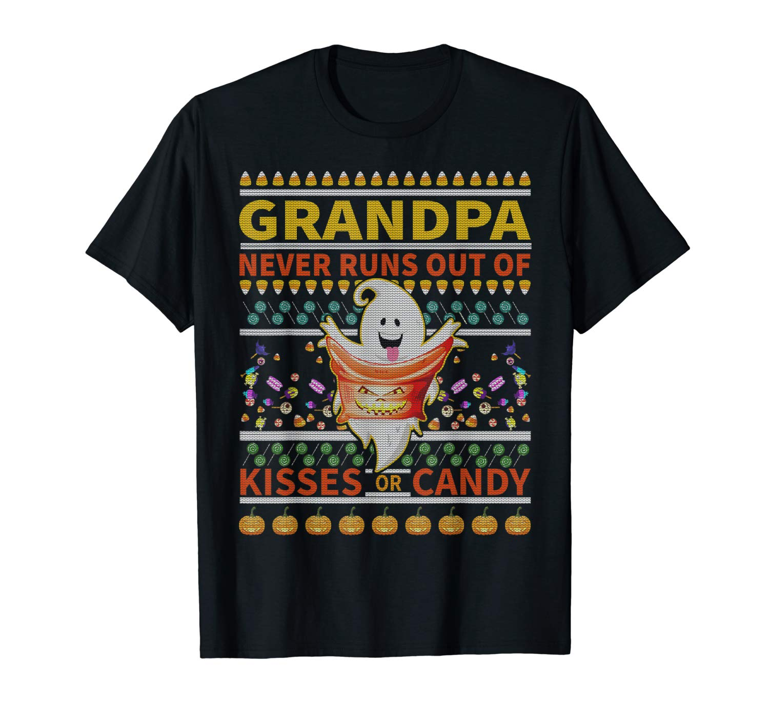 Grandpa Never Runs Out Of Kisses Or Candy Halloween T Shirt