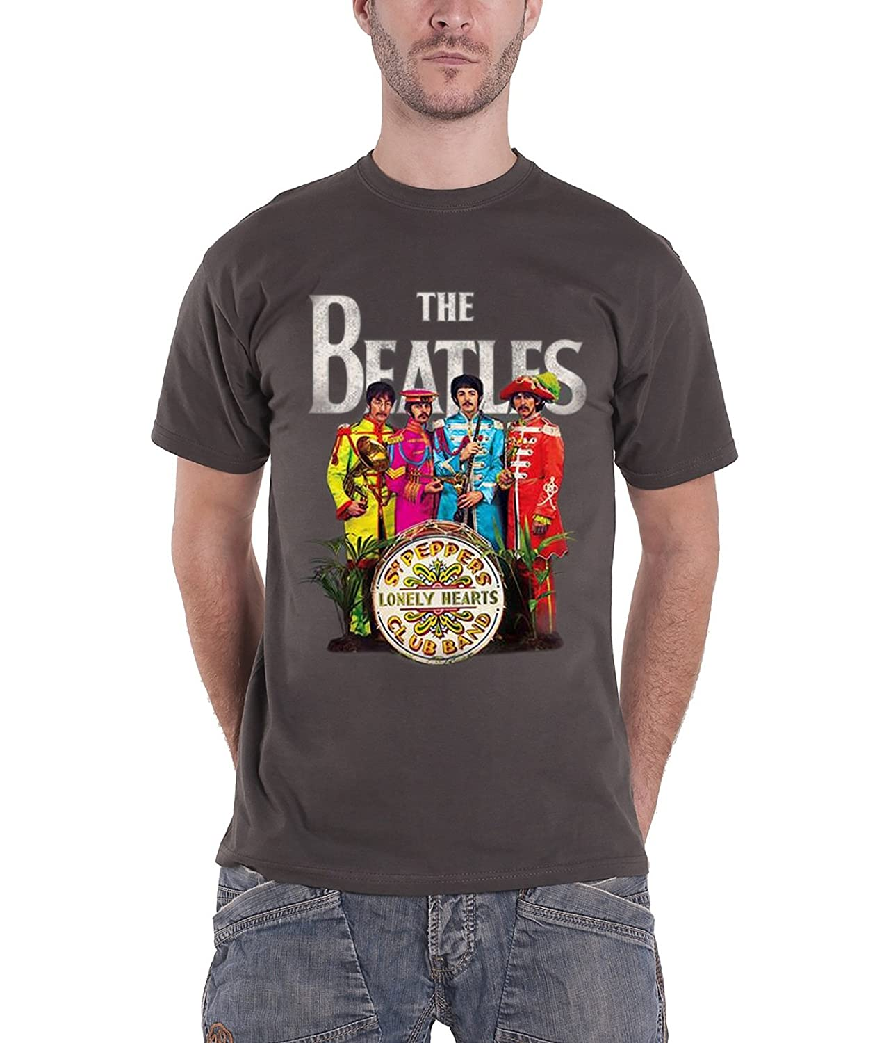 The Beatles T Shirt Sgt Pepper Lonely Hearts Drum Logo